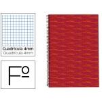 Bloc espiral Liderpapel tamaño folio multilider tapa forrada 80 hojas 70 gr/m2 cuadrícula de 4 mm con margen color rojo
