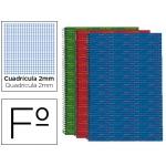 Bloc espiral Liderpapel tamaño folio multilider tapa forrada 80 hojas 70 gr/m2 milimetrado 2 mm colores surtidos