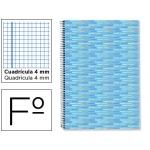 Bloc espiral Liderpapel tamaño folio multilider tapa forrada 80 hojas 80 gr/m2 cuadrícula de 4 mm con margen color celeste