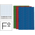 Bloc espiral Liderpapel tamaño folio multilider tapa forrada 80 hojas 80 gr/m2 cuadrícula de 4 mm con margen colores surtidos