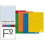 Bloc espiral Liderpapel tamaño folio write tapa cartóncillo 80 hojas 60 gr/m2 cuadrícula de 3 mm con margen colores surtidos