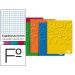 Bloc espiral Liderpapel tamaño folio write tapa cartóncillo 80 hojas 60 gr/m2 cuadrícula de 5 mm con margen colores surtidos
