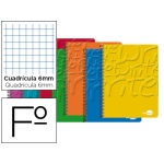 Bloc espiral Liderpapel tamaño folio write tapa cartóncillo 80 hojas 60 gr/m2 cuadrícula de 6 mm con margen colores surtidos