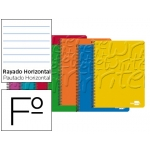 Bloc espiral Liderpapel tamaño folio write tapa cartóncillo 80 hojas 60 gr/m2 horizontal con margen colores surtidos