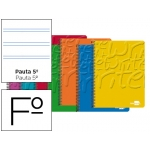 Bloc espiral Liderpapel tamaño folio write tapa cartóncillo 80 hojas 60 gr/m2 pauta 2.5 mm con margen colores surtidos