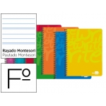 Bloc espiral Liderpapel tamaño folio write tapa cartóncillo 80 hojas 60 gr/m2 rayado montessori con margen colores surtidos
