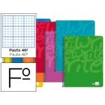 Bloc espiral Liderpapel tamaño folio write tapa cartóncillo 80 hojas 60 gr/m2 rayado nº46 colores surtidos