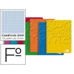 Bloc espiral Liderpapel tamaño folio write tapa cartóncillo 80 hojas 60gmilimetrado 2 mm colores surtidos