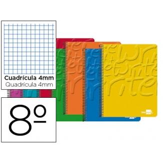 Bloc espiral Liderpapel tamaño octavo write tapa cartóncillo 80 hojas 60 gr/m2 cuadrícula de 4 mm colores surtidos