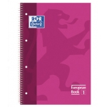 Bloc espiral Oxford european book tapa extradura tamaño A4 80 hojas cuadrícula 5 mm color rosa