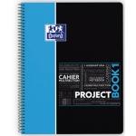 Bloc espiral Oxford tapa plástico microperforado projectbook1 tamaño A4 80 hojas 90 gr cuadros 5 mm color azul app