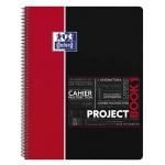Bloc espiral Oxford tapa plástico microperforado projectbook1 tamaño A4 80 hojas 90 gr cuadros 5 mm color rojo app