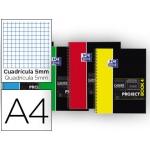 Bloc espiral Oxford tapa plástico microperforado projectbook4 tamaño A4 100 hojas 90 gr cuadros 5 mm colores