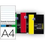 Bloc espiral Oxford tapa plástico microperforado projectbook4 tamaño A4 80 hojas 90 gr horizontal colores