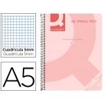 Bloc espiral Q-Connect tamaño A5 micro tapa polipropileno 80 hojas 70 gr/m2 cuadrícula de 5 mm sin bandas 6 taladros color rosa