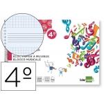Bloc musica Liderpapel pentagrama 3 mm mas cuadrícula de 4 mm para anotaciones tamaño cuarto20 hojas 100 gr/m2