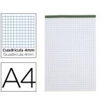 Bloc notas Liderpapel cuadrícula de 4 mm tamaño A4 80 hojas 60 gr/m2 perforado sin tapa