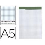 Liderpapel BN19 - Bloc de notas, A5, cuadrícula de 4 mm, perforado, sin tapa, 80 hojas de 60 gramos