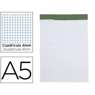 Liderpapel BN19 - Bloc de notas, A5, cuadricula de 4 mm, perforado, sin tapa, 80 hojas de 60 gramos