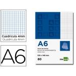 Liderpapel BN05 - Bloc de notas, A6, cuadrícula de 4 mm, perforado, 80 hojas de 60 gramos
