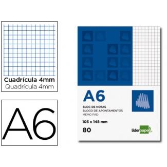 Bloc notas Liderpapel cuadrícula de 4 mm tamaño A6 80 hojas 60 gr/m2 perforado