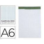 Bloc notas Liderpapel cuadrícula de 4 mm tamaño A6 80 hojas 60 gr/m2 perforado sin tapa