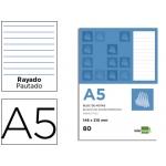 Bloc notas Liderpapel horizontal tamaño A5 80 hojas 60 gr/m2 perforado