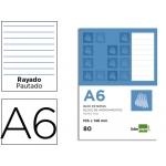 Bloc notas Liderpapel horizontal tamaño A6 80 hojas 60 gr/m2 perforado