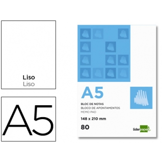 Liderpapel BN04 - Bloc de notas, A5, liso, perforado, 80 hojas de 60 gramos