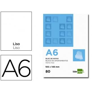Bloc notas Liderpapel liso tamaño A6 80 hojas 60 gr/m2 perforado