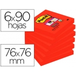 Bloc notas adhesivas quita y pon Post-it super sticky 76x76 mm con 90 hojas 654 color azafran