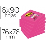 Bloc notas adhesivas quita y pon Post-it super sticky 76x76 mm con 90 hojas 654 color rosa fucsia
