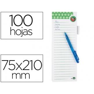 Bloc notas imantado lista de la compra Liderpapel 75x210 mm con bolígrafo 10 hojas 80 gr/m2