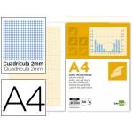 Bloc papel milimetrado Liderpapel encolado 210x297 mm 50 hojas 80 gr/m2
