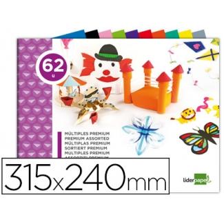 Bloc trabajos manuales Liderpapel múltiple premium 240x315 mm 62 hojas colores surtidos