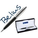 Bolígrafo Belius brighton color negro lacado con detalles cromados en estuche