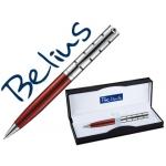 Bolígrafo Belius copenhague color rojo lacado y plata en estuche