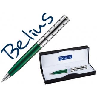 Bolígrafo Belius copenhague color verde lacado y plata en estuche