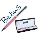 Bolígrafo Belius granada con cristales color rosa en estuche