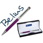 Bolígrafo Belius granada con cristales color violeta en estuche