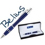 Bolígrafo Belius kassel color azul con detalles plateados en estuche