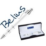 Bolígrafo Belius kassel color blanco con detalles plateados en estuche