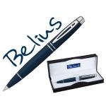 Bolígrafo Belius malta color azul plata en estuche