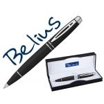 Bolígrafo Belius malta color negro plata en estuche