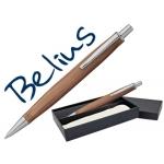 Bolígrafo Belius monaco cuerpo de madera clara acabodos cromados en estuche