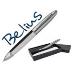 Bolígrafo Belius oslo simil piel blanco y negro en estuche