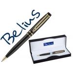 Bolígrafo Belius parma color negro lacado con detalles dorados en estuche