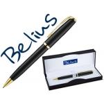 Bolígrafo Belius riga color negro con detalles dorados en estuche