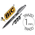 Bolígrafo Bic cristal stylus 2 in 1 con puntero para pantalla retractil tinta aceite 1 mm color negro