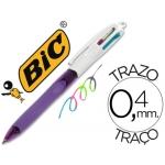 Bolígrafo Bic cuatro colores con grip colores pastel punta 1,3 mm